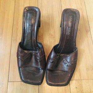 Via Spiga | Brown Italian Leather Mules Sz 8